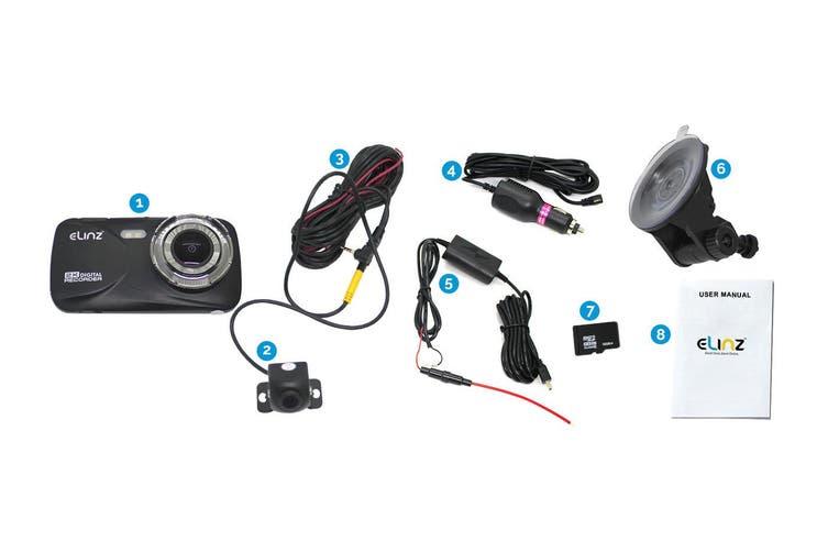 Elinz 2K Dash Cam Dual Camera Reversing 1080P Rear Car DVR Recorder Video 170° WiFi 4.0 Touch Screen 32GB