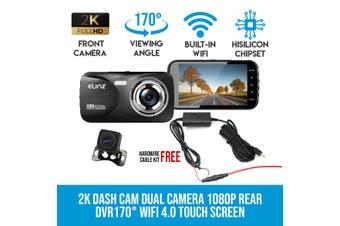 Elinz 2K Dash Cam Dual Camera Reversing 1080P Rear Car DVR Recorder Video 170° WiFi 4.0 Touch Screen