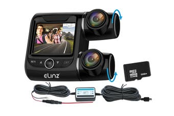 Elinz Dash Cam Dual Camera Car 170deg 1296P 2.0 LCD Uber Taxi Hardwire Kit Charger 32GB