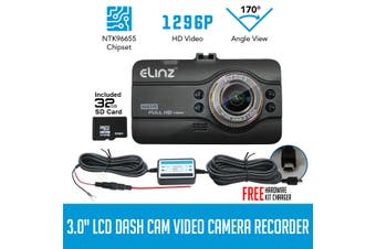 Elinz Dash Cam DVR Car Video Camera Recorder FHD 170deg Night Vision 1296P 3.0 LCD 32GB Hardwire Kit Charger