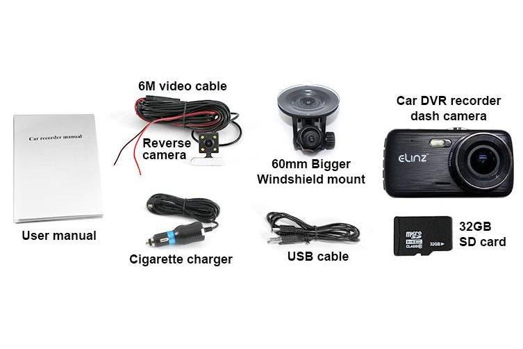 "Elinz Dash Cam Dual Camera Reversing Recorder Car DVR Video 170deg FHD 1296P 4"" LCD 32GB"