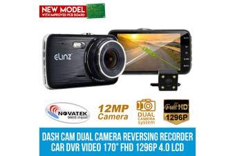 "Elinz 4.0"" LCD Car Dash Cam Dual Camera Reversing 1296P FHD DVR Video Recorder 170°"