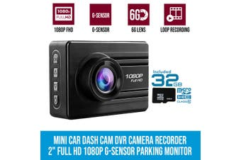 "Entry Level 2"" Mini Car Dash Cam DVR Camera Recorder Full HD 1080P Parking Monitor 32GB"