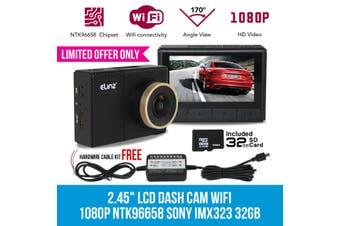 "Elinz 2.45"" Car Dash Camera Cam Wifi Video Recorder 1080P NTK96658 SONY IMX323 32GB 2"" FREE Hardwire Cable"