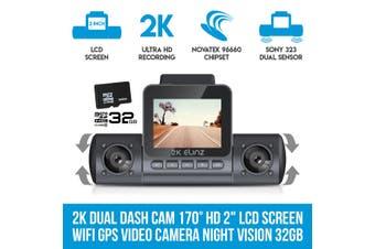 "Elinz 2K Dual Dash Cam 170° HD 2"" LCD Screen WiFi GPS Uber Taxi Car Video Camera Night Vision 32GB"
