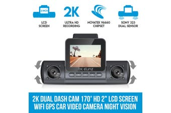 "Elinz 2K Dual Dash Cam 170° HD 2"" LCD Screen WiFi GPS Uber Taxi Car Video Camera Night Vision"