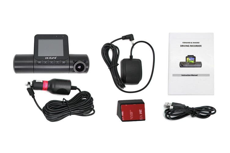 "Elinz 2K Dual Dash Cam 170° HD 2"" LCD Screen WiFi GPS Uber Taxi Car Video Camera Night Vision"