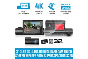 "Elinz 3"" OLED 4K Ultra HD Dual Dash Cam Touch Screen WiFi Reversing Camera GPS Sony Supercapacitor 32GB"