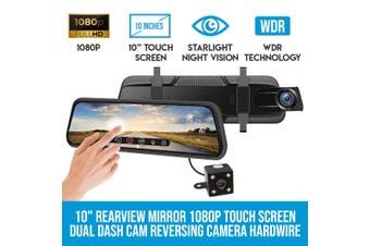 "Elinz 10"" Rearview Mirror 1080P Full Touch Screen Car Dual Dash Cam Reversing Camera Recorder Hardwire Kit"