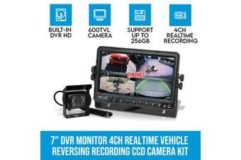 "Elinz 7"" DVR Monitor 4CH Realtime Vehicle Reversing Recording CCD 1x Camera Kit Truck Bus"