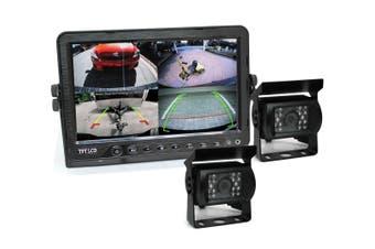 "Elinz 7"" DVR Monitor 4CH Realtime Vehicle Reversing Recording CCD 2x Camera Kit Truck Bus"