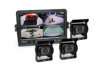 "Elinz 7"" DVR Monitor 4CH Realtime Vehicle Reversing Recording CCD 3x Camera Kit Truck Bus"