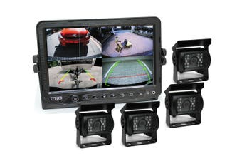 "Elinz 7"" DVR Monitor 4CH Realtime Vehicle Reversing Recording CCD 4x Camera Kit Truck Bus"