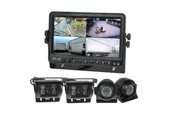 "Elinz 7"" DVR Quadscreen 4 Camera Package Kit 360 View Reversing Forward Side 12V 24V Bus Truck Caravan"