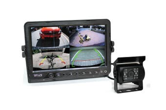 "Elinz 9"" DVR Monitor 4CH Realtime Vehicle Reversing Recording CCD 1x Camera Kit Truck Bus"