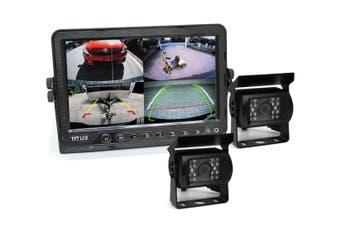 "Elinz 9"" DVR Monitor 4CH Realtime Vehicle Reversing Recording CCD 2x Camera Kit Truck Bus"