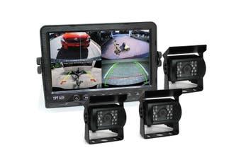 "Elinz 9"" DVR Monitor 4CH Realtime Vehicle Reversing Recording CCD 3x Camera Kit Truck Bus"