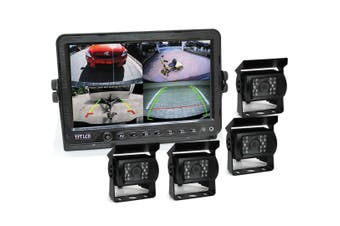 "Elinz 9"" DVR Monitor 4CH Realtime Vehicle Reversing Recording CCD 4x Camera Kit Truck Bus"