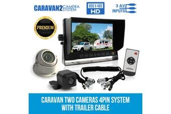 """Elinz 7"""" Monitor HD 12V/24V Reversing CCD 2 Camera 4PIN System Trailer Cable Caravan"""