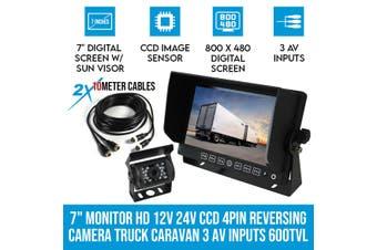 """Elinz 7"""" Monitor HD 12V 24V CCD 4PIN Reversing Camera Truck Caravan 3 AV inputs 600TVL"""