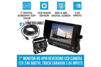 """Elinz 7"""" Monitor HD 4PIN Reversing CCD Camera 12V 24V 600TVL Truck Caravan 3 AV inputs"""