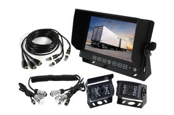 "Elinz 7"" Monitor Caravan 2 Reversing Camera 4PIN 3AV MIC 12V 24V Trailer Cable Coil Black"