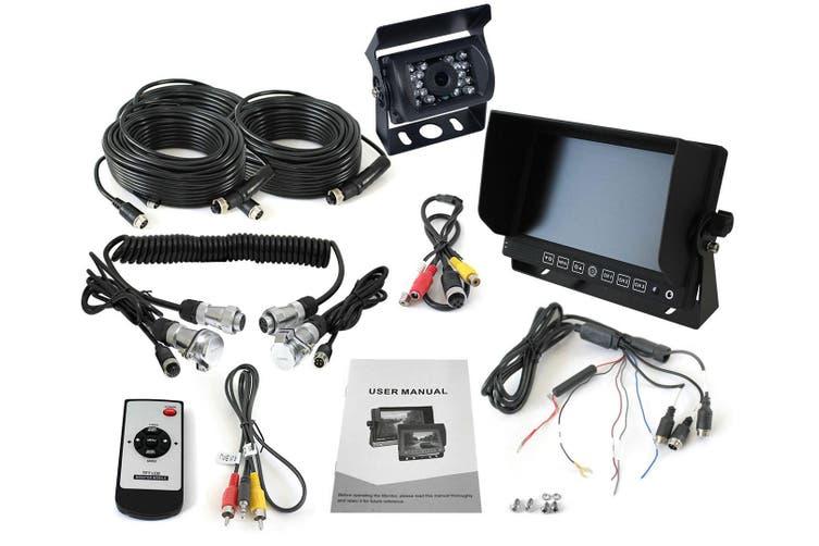 "Elinz 7"" Monitor Caravan 2 Reversing Camera 4PIN 3AV MIC 12V 24V Trailer Cable Coil Black"