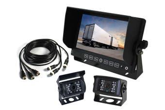 """Elinz 7"""" Monitor Caravan 2 Cameras System Reversing CCD 4PIN 3AV MIC 600TVL 12V 24V Black"""