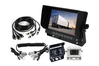 "Elinz 7"" Monitor Caravan 2 Reversing Camera 4PIN 3AV MIC 12V 24V Trailer Cable Coil White"