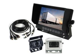 """Elinz 7"""" Monitor Caravan 2 Cameras System Reversing CCD 4PIN 3AV MIC 600TVL 12V 24V White"""