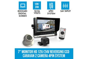 """Elinz 7"""" Monitor HD 12V/24V Reversing CCD 2x TWO Camera 4PIN System 3AV Caravan Kit"""