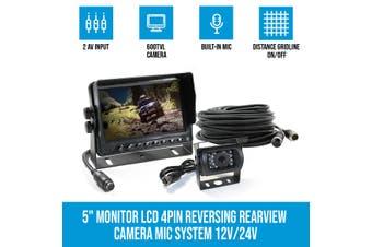"Elinz 5"" Monitor LCD 12V/24V Car Reversing Rearview Camera with Mic System Kit 4PIN"