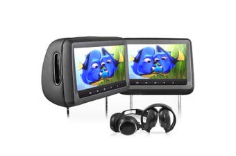 "Elinz Headrest 2x 10.1"" HD Car Monitor Pillow HDMI 1080P DVD Player 1024x600 SD USB Black"