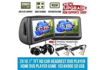 "Elinz Headrest 2x 10.1"" HD Car Monitor Pillow HDMI 1080P DVD Player 1024x600 SD USB Grey"
