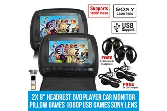 "Elinz 2x 9"" Headrest DVD Player Car Monitor Pillow Games 1080P USB Sony Lens Black"