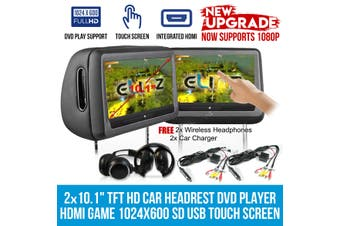"Elinz 2x 10.1"" Headrest DVD Player HD 1080P Touch Screen Monitor 1024x600 IR FM SD USB Black"