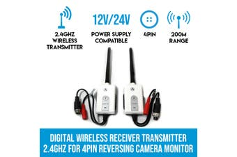 Elinz Digital Wireless Receiver Transmitter 2.4GHz for 4PIN Reversing Camera Monitor Channel 2