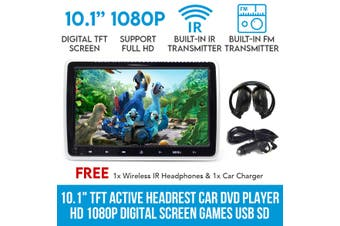 "Elinz 10.1"" TFT Active Headrest Car DVD Player HD 1080P Digital Screen Games USB SD 9"""