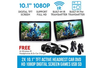 "Elinz 2x 10.1"" TFT Active Headrest Car DVD Player HD 1080P Digital Screen Games USB SD 9"""