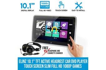 "Elinz 10.1"" TFT Active Headrest Car DVD Player Touch Screen Slim Full HD 1080P Games"