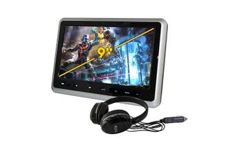 "Elinz 9"" Digital TFT LCD Active Car Slim Headrest DVD Player Full HD 1080P Games USB Ultra-thin Silver"