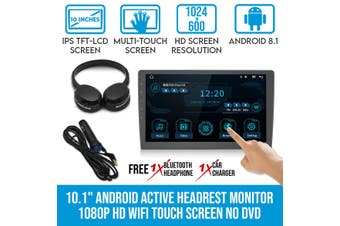 "Elinz 10.1"" Android Active Car Headrest Monitor 1080P HD WiFi Touch Screen Digital Airplay Miracast No DVD Player"