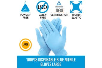 100pcs Disposable Blue Nitrile Gloves Protective Powder-free Latex-free Large