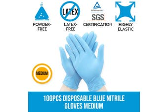 Disposable Blue Nitrile Gloves Protective Powder-free Latex-free Medium