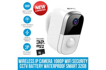 Elinz Wireless IP Camera 1080P WiFi Security CCTV Wire-Free Battery Waterproof Smart 32GB