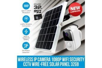 Elinz Wireless IP Camera 1080P WiFi Security CCTV Wire-Free Battery Waterproof Solar Panel 32GB