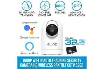 Elinz 1080P WiFi IP Auto Tracking Security Camera HD Wireless Pan Tilt CCTV Alexa Echo Google Home Compatible 32GB
