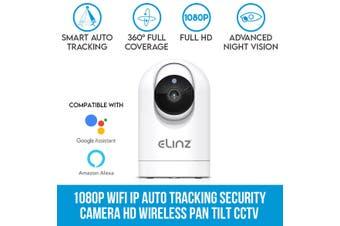 Elinz 1080P WiFi IP Auto Tracking Security Camera HD Wireless Pan Tilt CCTV Alexa Echo Google Home Compatible