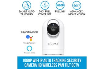Elinz 1080P WiFi IP Auto Tracking Security Camera HD Wireless Pan Tilt CCTV Alexa Echo Google Home Compatible