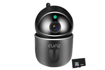 Elinz Security Camera WiFi IP Smart Auto Tracking HD Wireless Pan Tilt CCTV 1080P 32GB Black